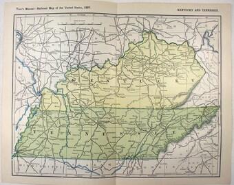 Original 1907 Railroad Map of Kentucky & Tennessee. Antique Original