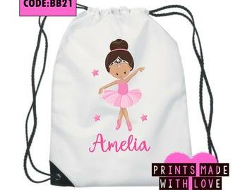 Personalised ballet bag , gym bag , ballerina , swim bag , school bag, 10 to choose from personalized