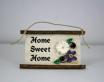Quilled Magnet 244 - Home Sweet Home, Purple and White Paper Flowers, Housewarming Gift, Party Favor, Ornament