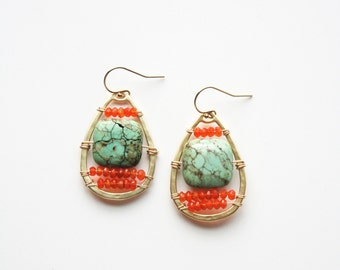 Turquoise Earrings, Boho Earrings, Turquoise Jewelry, Boho Chic