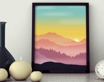 Mountain Sunset - Digital Vector Wall Art