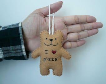 J'aime la pizza ours ornement funny cadeaux faits main pour hommes femmes éléphant blanc échange de cadeaux