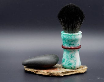 Shaving Brush - Spring Mist and Crushed Cranberry Resin Lathe-Turned Handle with choice of knots
