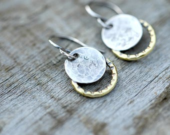 Small solar eclipse earrings,  moon earrings, solar eclipse jewelry, petite earrings, 2017 solar eclipse, total eclipse, silver earrings