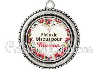 Cabochon 25mm pendant full of kisses for MOM 015MUL04
