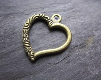 Metal heart bronze pendant, two