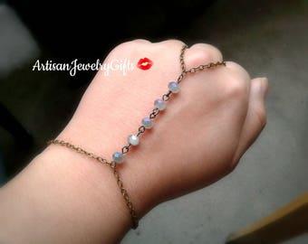 Boho Slave Bracelet Stormy Glass Beads Hand Chain Bohemian Slave Bracelet Boho Hand Chain Ring Bohemian Bracelet Gift For Her Boho Bracelet