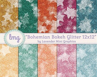 Boho Gold Glitter Digital Papers, Bohemian Backgrounds, Glitter Papers, Bokeh Digital Backgrounds, 12x12, Instant Download, Commercial Use
