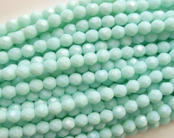 25 6mm Opaque Pale Jade Czech glass beads, minty geen, firepolished, faceted round beads, C7625