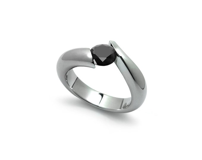 Black Diamond Tension Set Ring in Two Tone Stainless Steel