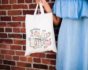 Momomints Grocery Shopping Tote Bag - Vegetable Canvas Bag - Veggies Tote Bag - Book Bag - School Bag