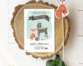 Printable woodland party invitation