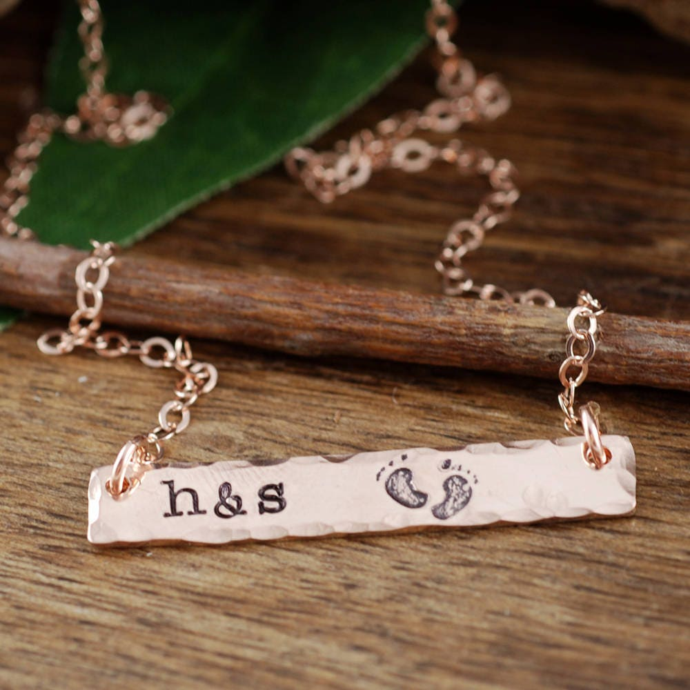 Rose Gold Personalized Necklace Rose Gold Rectangular Bar Mother