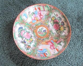 Vintage Beautiful Chinese Porcelain Rose Medallion Low Bowl