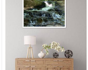 Canvas, Waterfall, Nature, Wall Art, Photography, 11 x 14, Canvas, Prints, Matted and Framed