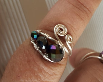 Sterling Silver Swirl Beaded Ring