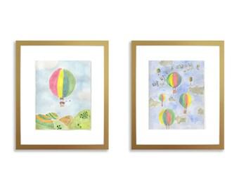 Hot air balloon nursery wall art set, set of 2 prints, wall art, nursery wall art, watercolor hot air balloon, hot air balloon, 8 x 10