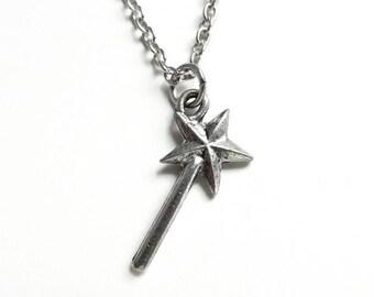 Elphaba -  magic wand necklace - fairy godmother necklace - Godmother gift - silver wand necklace - silver necklace