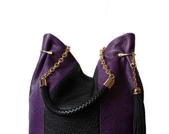 Bucket leather bag, bucket Violet bag, Violet leather bag, Violet black leather bag,  bucket bag, luxury bag, fashion bag 2018