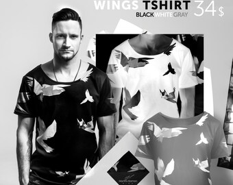 Dark Tshirt, Birds tshirt, Printed men's T-Shirt, black