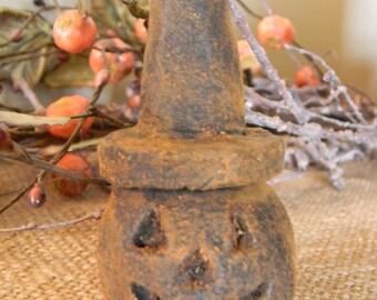 Primitive Blackened Beeswax Jack o' Lantern Witch  #307