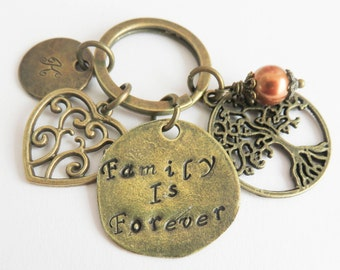 Personalized family keychain, Family Is Forever, initial keychain, gift for her, gift for mother, Tree of Life keyring
