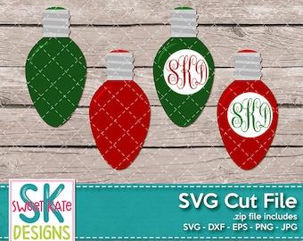 Christmas Light Bulb Monogram SVG dxf EPS png JPG htv Heat Transfer Vinyl Cricut svg Silhouette svg Christmas Ornament Sweet Kate Designs