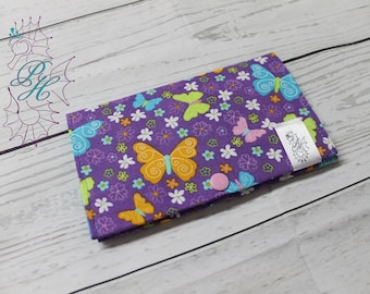 Protects health, butterflies, purple, orange, blue, flowers