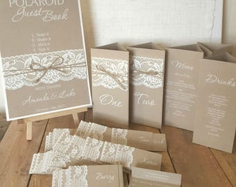 Customised Wedding Reception Stationery - Place cards, menus, seating charts, table numbers & more