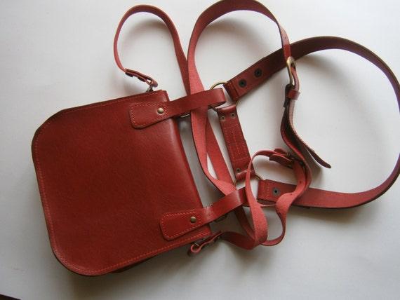 Red Lalibela's Double Betled HipBag , Crossbody bag, Hip Bag, Belt Bag, Handmade Genuine Leather Hipbag, Made to order