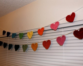 Custom or Rainbow HEARTS Banner - choose your colors
