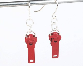 Zipper Pull Earrings- Red Zipper Earrings, Sewing Jewelry, Upcycled Jewelry, Recycled Jewelry, Red Zipper Jewelry, Gift for Sewer