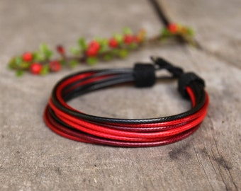 Multicolor bracelet for him - sporty bracelet for men - unique handcrafted men's jewelry - red black - gift for husband