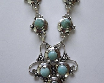 """MOTHERS DAY SALE Gorgeous Robins' Egg Blue Dominican Larimar Necklace In Handmade Sterling Silver Setting 18"""""""