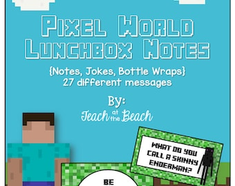 Pixel World Lunchbox Notes, Jokes, and Bottle Wraps