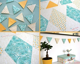 Kit Garland flags pineapple and palm trees - recycled paper