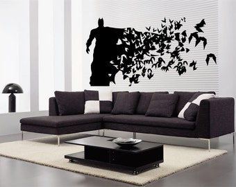 Batman  ( Large Size) - Wall Decal - Wall art Sticker - ( Black outline shown )