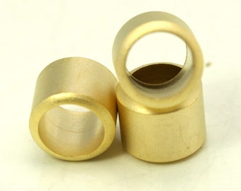 2 pcs 12 x 10 mm ( 9 mm hole) gold plated brass round tube finding charm bab9 1315G