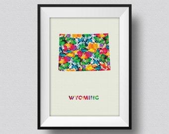 Wyoming Watercolor Map Art Print Wyoming Ink Splash Poster Art Canvas