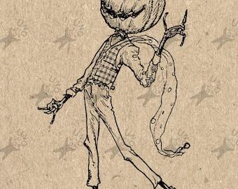 Vintage image Halloween Jack Jack-o'-lantern  Instant Download Digital printable clipart graphic - decoupage,burlap,kraft etc HQ 300dpi