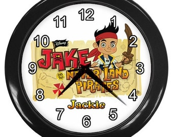 Personalized Jake and The Neverland Pirates Boys Room Wall Clock