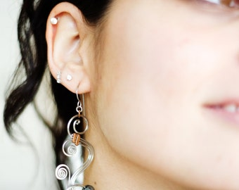 hematite earrings · wire wrap earrings · assymetric earrings · hypoallergenic earrings · dangle earrings · boho earrings · wire wrapped