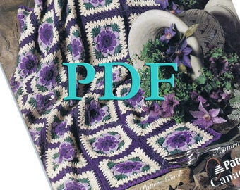 PDF - Greatest Granniesof All, 1994 - 10 crochet projects, 15 crochet squares - afghan, pillow patterns