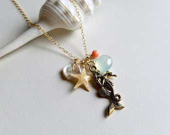 Hawaiian Beach Necklace, Mermaid Necklace, Seahorse Pendant, Real Starfish Necklace, Ocean Jewelry, Beach Cluster