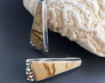 Picture Jasper Earrings, Very Long Brown Stone Artisan Silversmith Post Earrings, Copper Sterling Silver Statement Jewelry, Triangle Drops