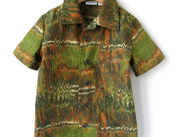 Boy's Size 5 Short Sleeve Shirt - Brown and Green Cotton