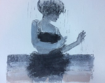 "Woodcut and watercolor, ""Beach Dancer"""
