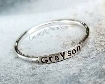 2mm Sterling Silver Stackable Name Rings, Stackable Mother's Rings, Push Present, Stackable Rings, Customized Rings, Name Rings Stackable