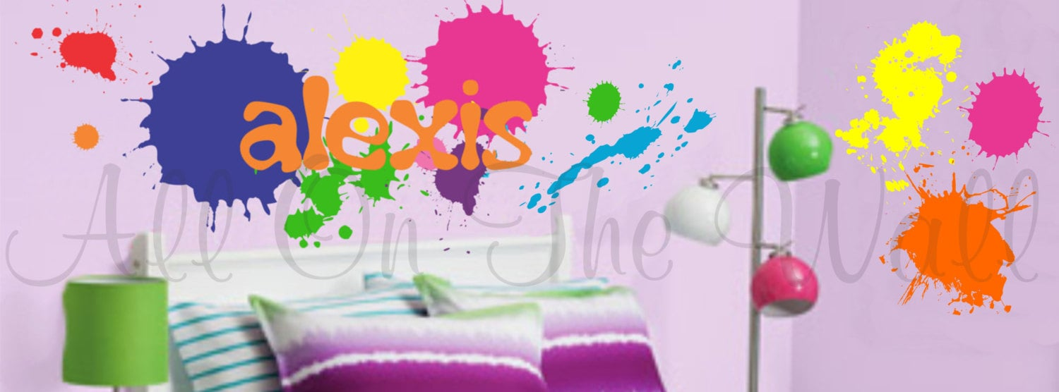Paint Splatters Wall Decals Name Decal Boy Bedroom Girl - Custom vinyl wall decals graffiti