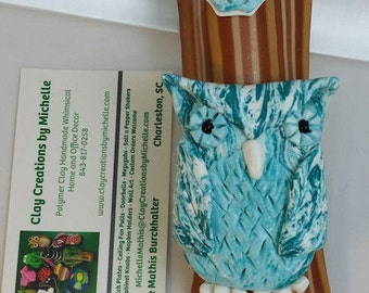 Owl Turquoise on Wood Colored Mezuzah Case